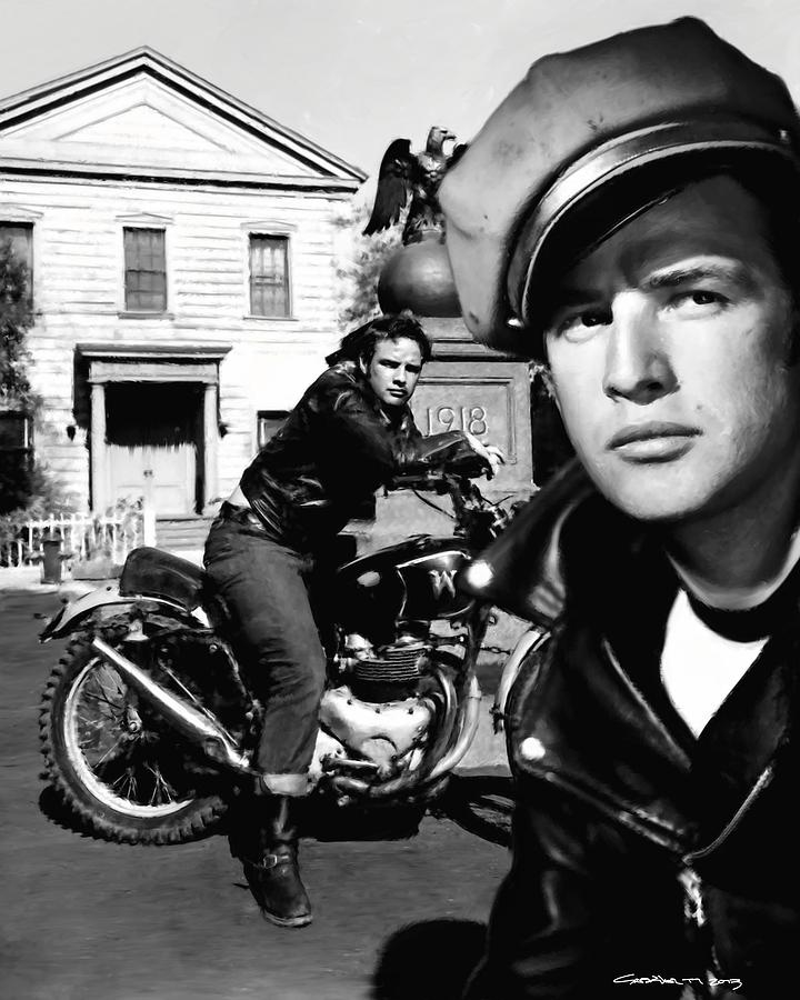 Marlon Brando Digital Art - Marlon Brando in the film The Wild One by Gabriel T Toro