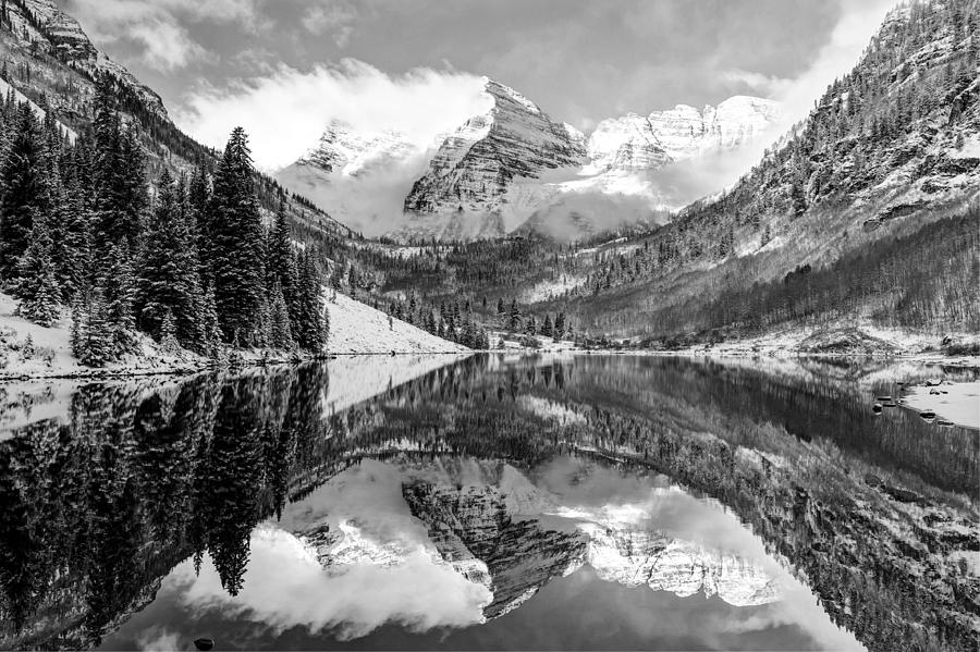 America Photograph - Maroon Bells Bw Covered In Snow - Aspen Colorado by Gregory Ballos