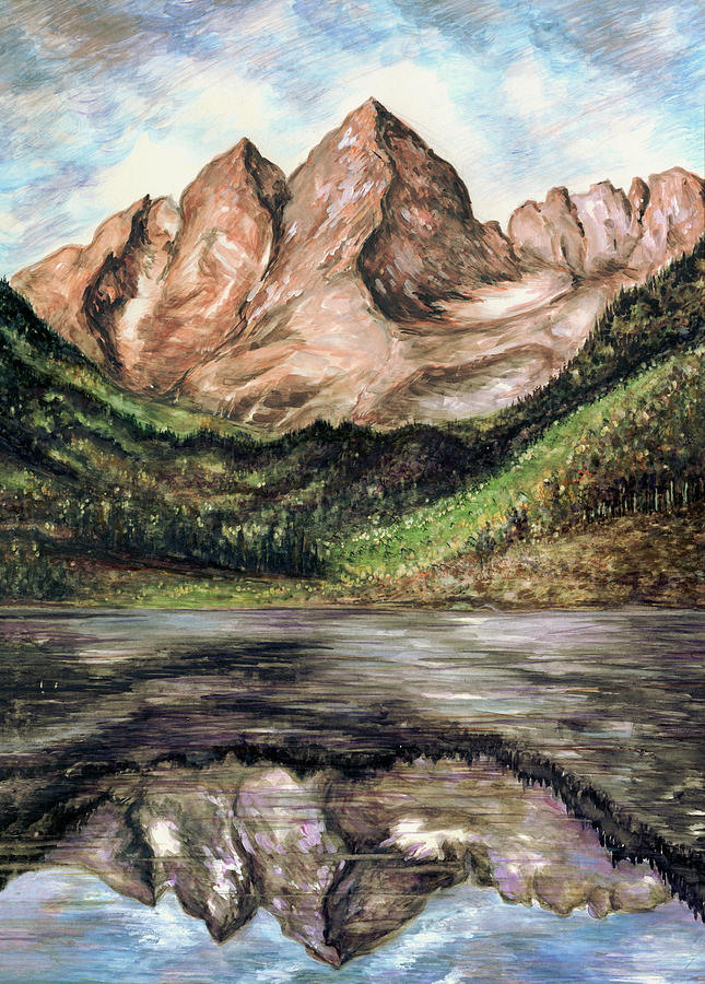 Maroon Bells Colorado - Landscape Painting by Peter Potter