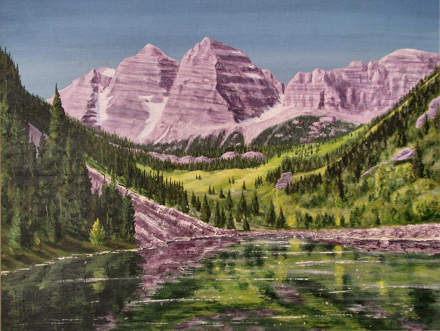 Mountains Painting - Maroon Bells Revisited by Dana Carroll