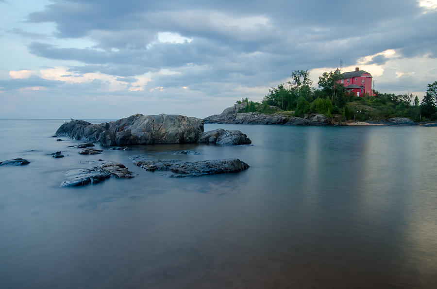 Awe Photograph - Marquette Lower Harbor Lighthouse At Dusk by Brett Perucco