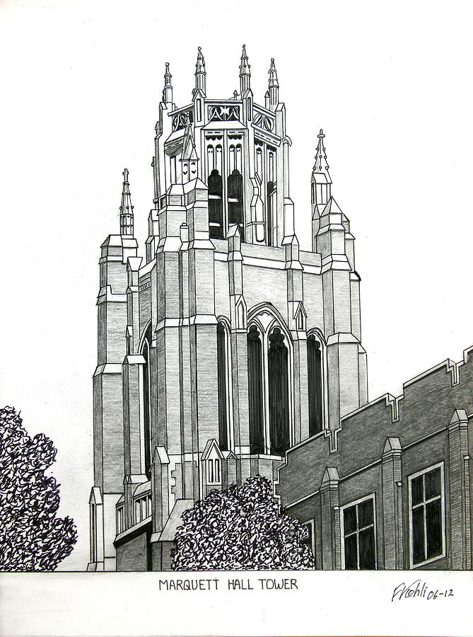 Historic Buildings Drawings Drawing - Marquette University by Frederic Kohli