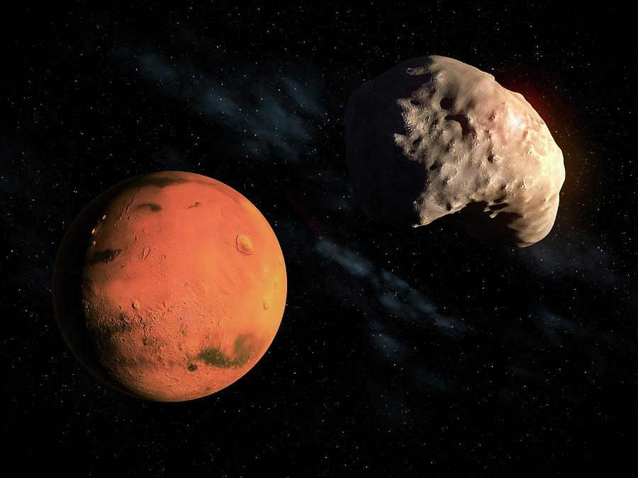 Mars And Deimos, Artwork Digital Art by Andrzej Wojcicki