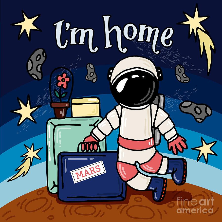 Symbol Digital Art - Mars Astronaut, An Astronaut In Front by Maria Letta