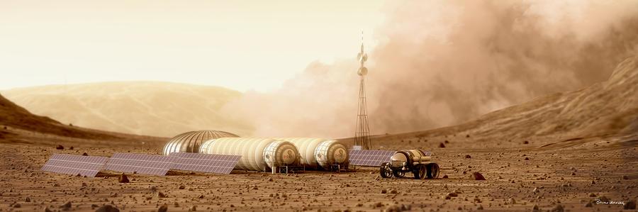 Mars Landscape Digital Art - Mars Dust Storm by Bryan Versteeg