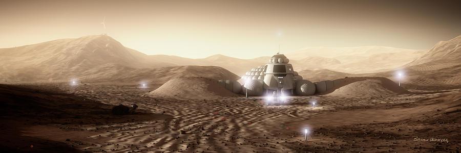 Mars Habitat Digital Art - Mars Habitat - Valley End by Bryan Versteeg