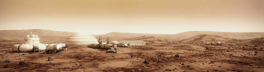 Farm Digital Art - Mars Settlement Landscape With Farm by Bryan Versteeg