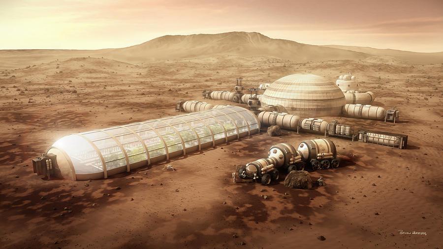 Farm Digital Art - Mars Settlement With Farm by Bryan Versteeg