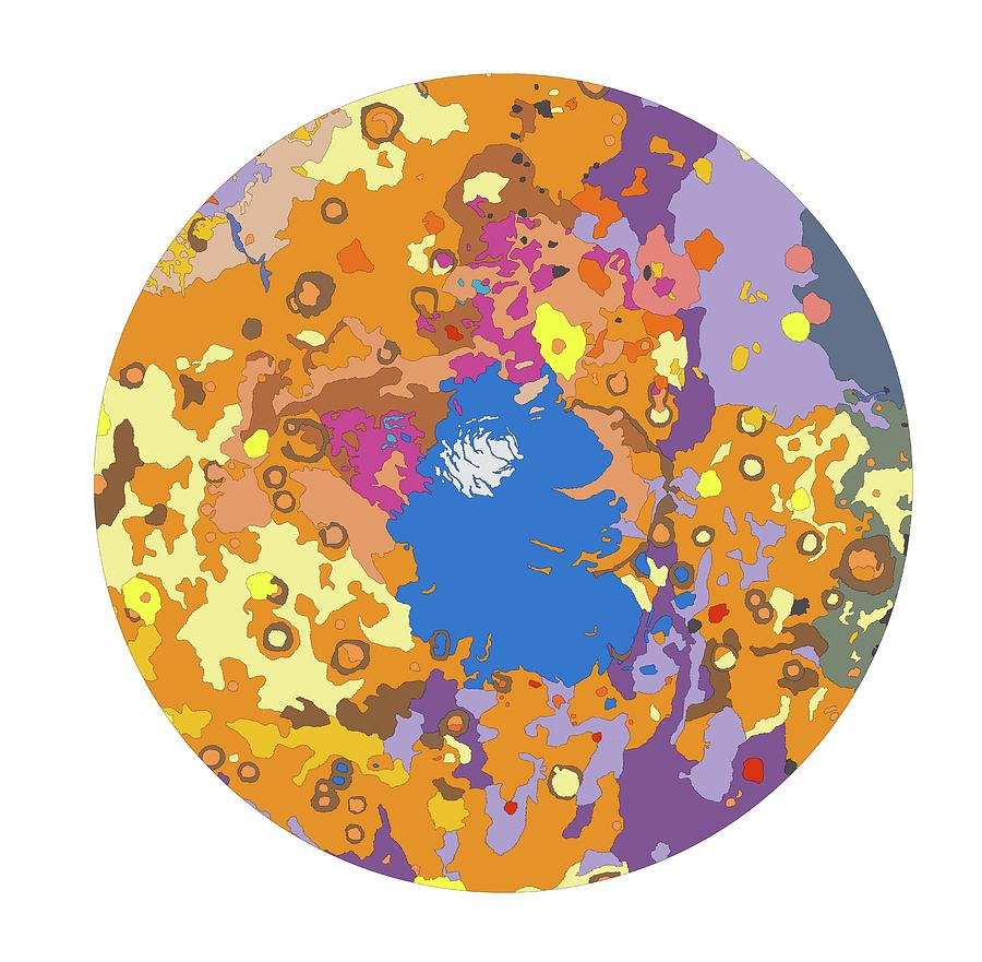 Mars South Polar Map Photograph By Us Geological Surveyscience - Us-geologic-survey-maps