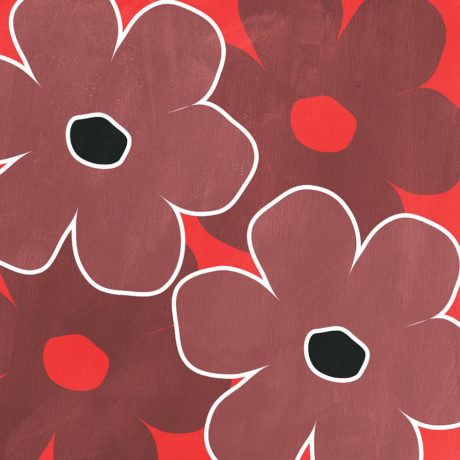 Marsala And Red Flowers- Bold Floral Art Painting