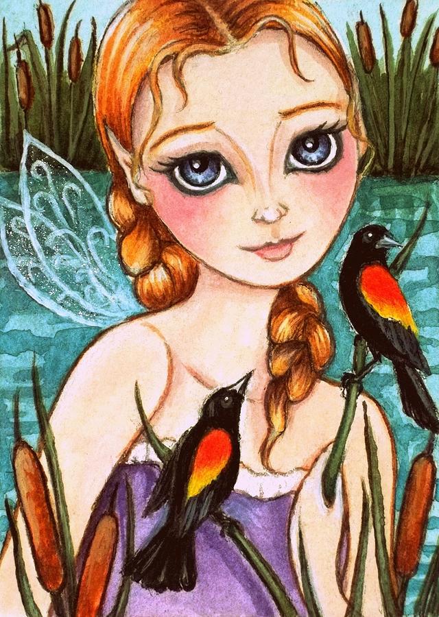 Marsh Fairy W/ Red-winged Blackbirds 2 Painting
