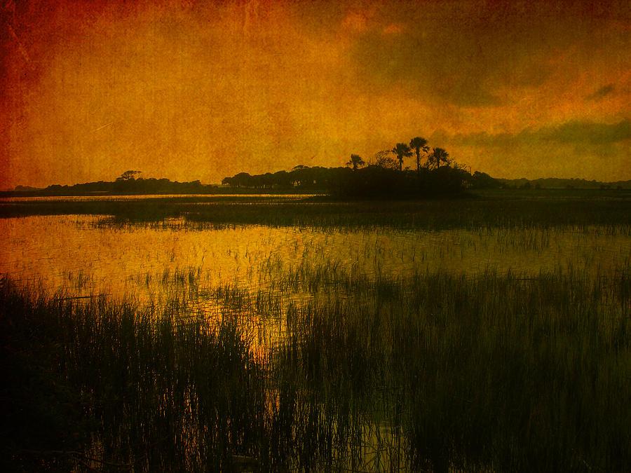 Marsh Scene Photograph - Marsh Island Sunset by Susanne Van Hulst