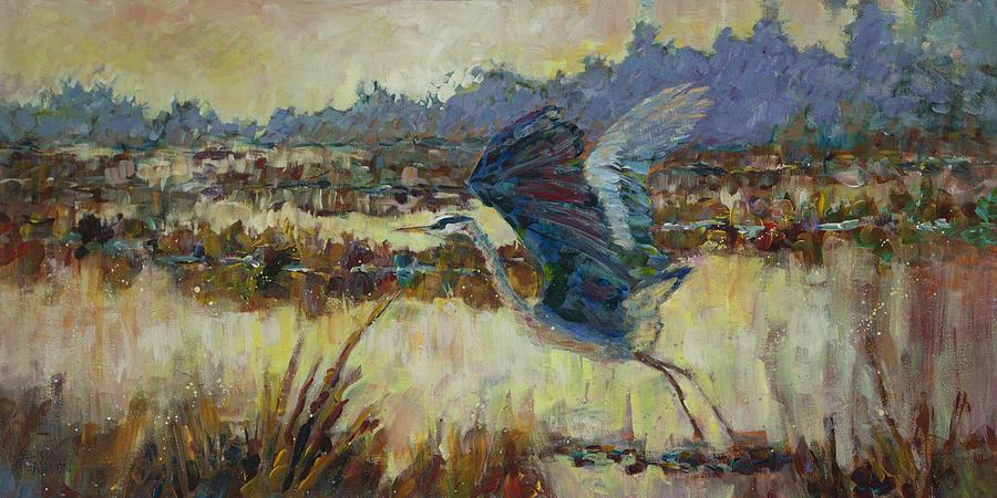 Heron Painting - Marsh Secrets by Melissa Gannon