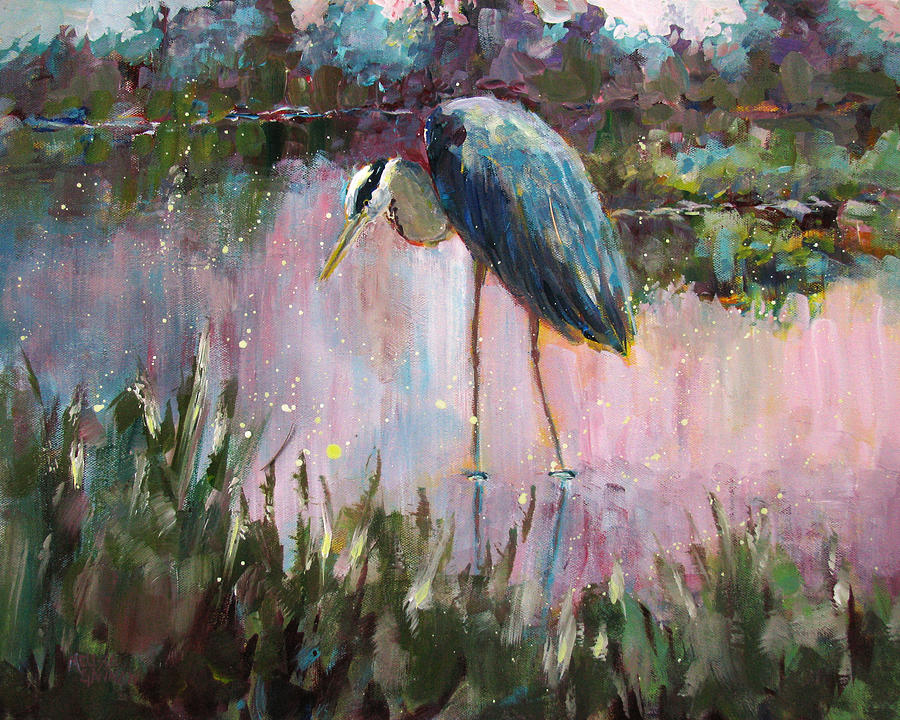 Heron Painting - Marsh Time by Melissa Gannon