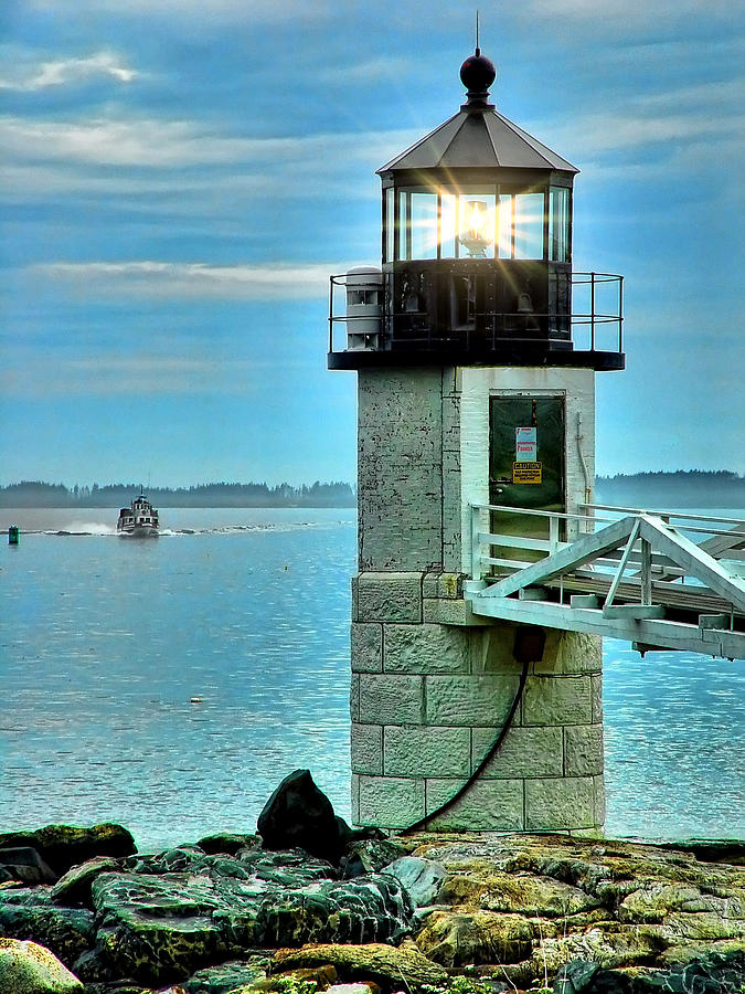 Boat Photograph - Marshall Point Light And Boat by Carolyn Fletcher