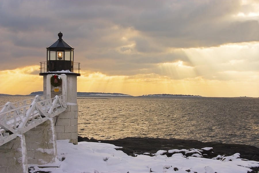 Winter Photograph - Marshall Point Lighthouse In Winter Maine  by Keith Webber Jr