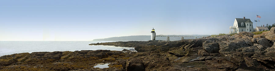 Marshall Point Lighthouse Photograph - Marshall Point Lighthouse - Panoramic by Mike McGlothlen