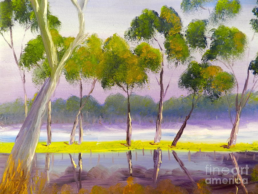 Impressionist Painting - Marshlands Murray River Red River Gums by Pamela  Meredith