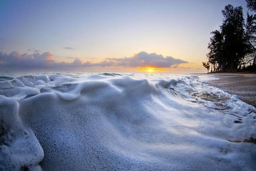 Wave Photograph - Marshmallow Tide by Sean Davey