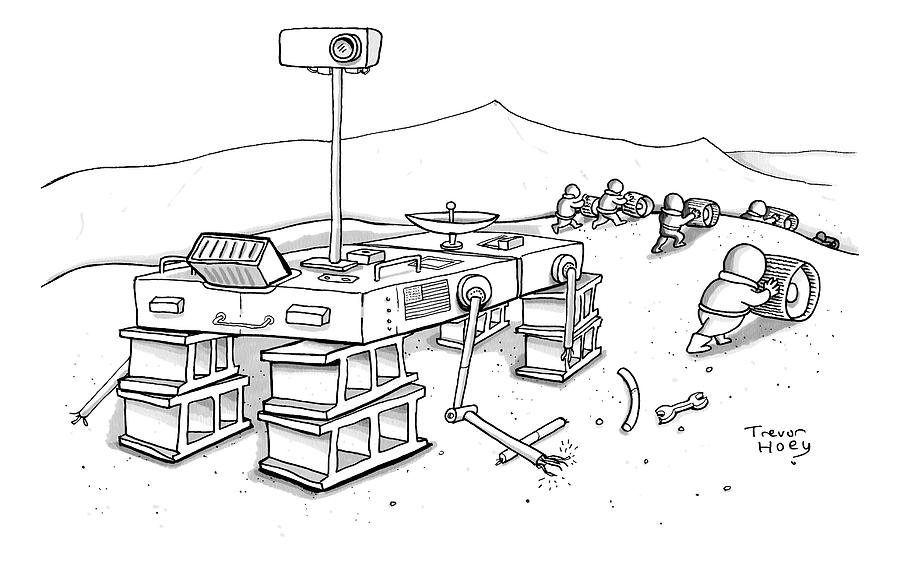 Martians Are Stealing The Tires On A Martian Drawing by Trevor Hoey