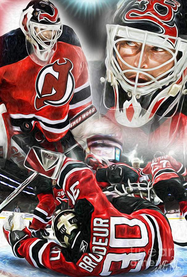Goalie Painting - Martin Brodeur Collage by Mike Oulton