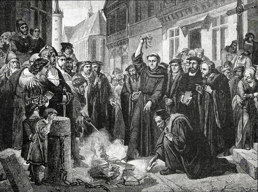 Luther Drawing - Martin Luther 1483 1546 Publicly Burning The Popes Bull In 1521  by English School