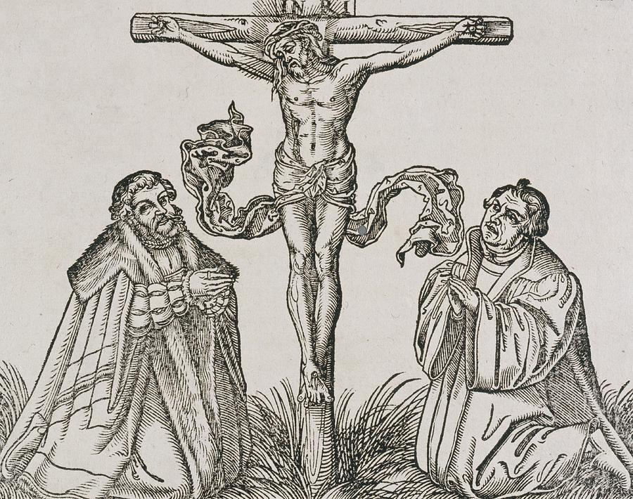 Martin Luther Drawing - Martin Luther And Frederick IIi Of Saxony Kneeling Before Christ On The Cross by German School