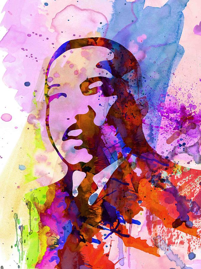 Martin Luther King Jr Painting - Martin Luther King Jr Watercolor by Naxart Studio