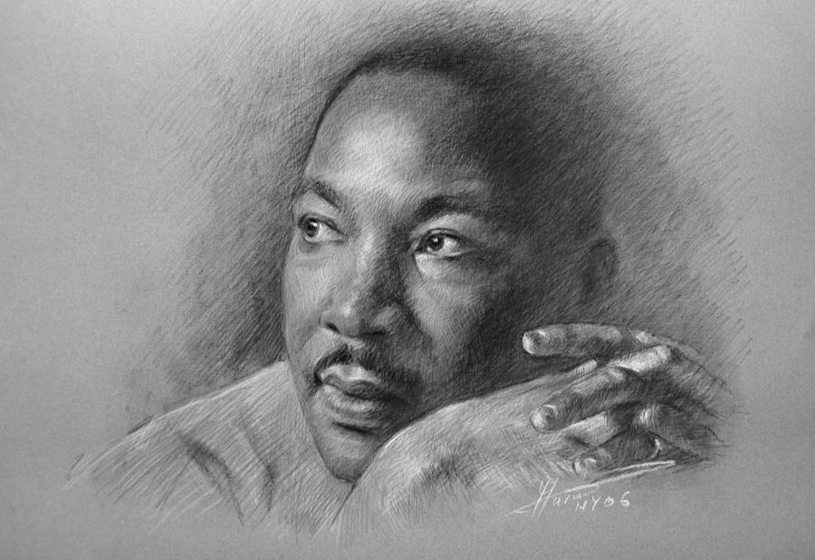 Portrait Drawing - Martin Luther King Jr by Ylli Haruni