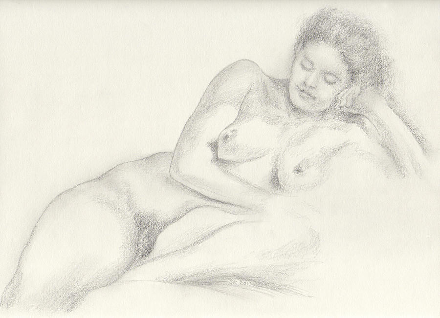 Female Nude Drawing - Martina Lounging On Her Left Side Her Head Propped Upon Her Left Hand by Scott Kirkman