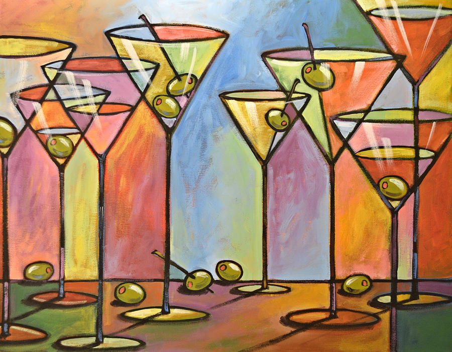 martini bar abstract alcohol art painting by amy On drinking and painting