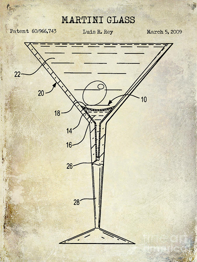 mixed drink photograph martini glass patent drawing by jon neidert