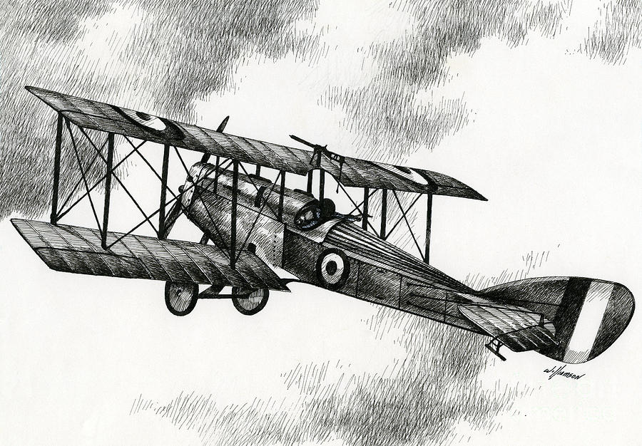 Airplane Drawing Drawing - Martinsyde G 100 by James Williamson