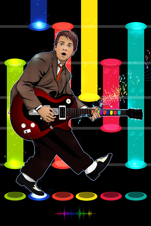Marty Mcfly Digital Art - Marty Mcfly Plays Guitar Hero by Akyanyme