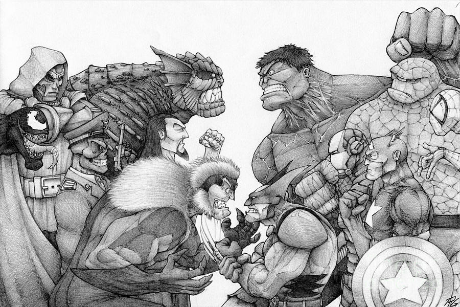 Marvel Group Drawing by Rui Guerreiro