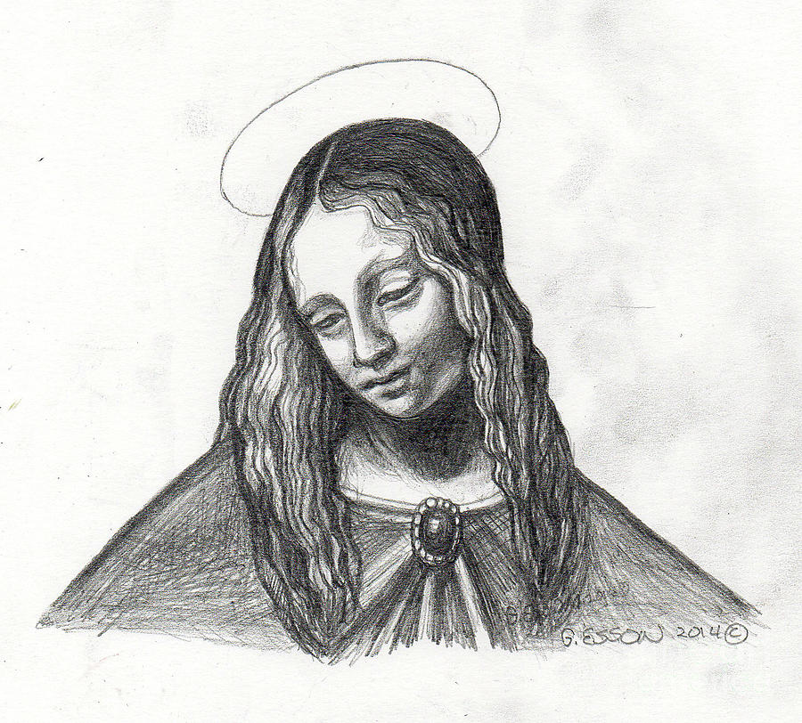 Mary Painting - Mary After Davinci by Genevieve Esson