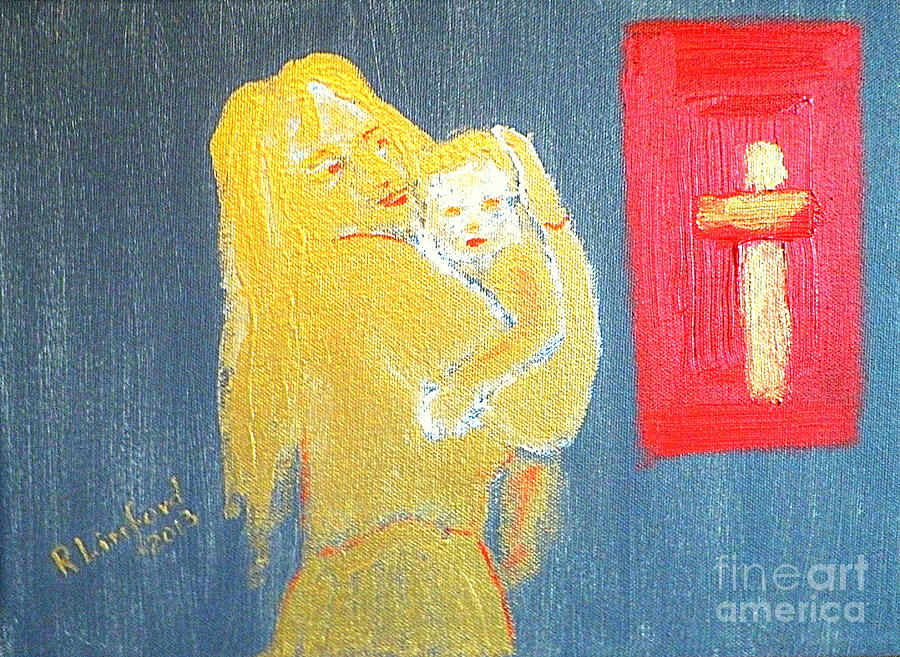 Mary Painting - Mary And Baby Jesus 1 by Richard W Linford