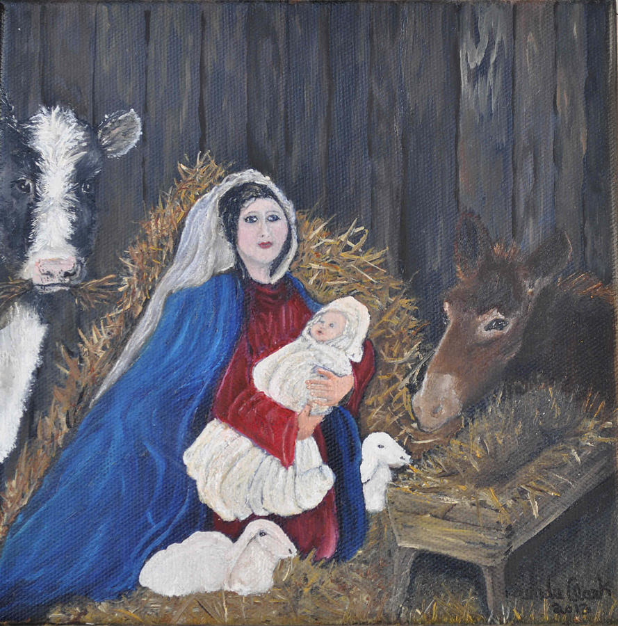 Oil Painting Painting - Mary And Baby Jesus by Linda Clark