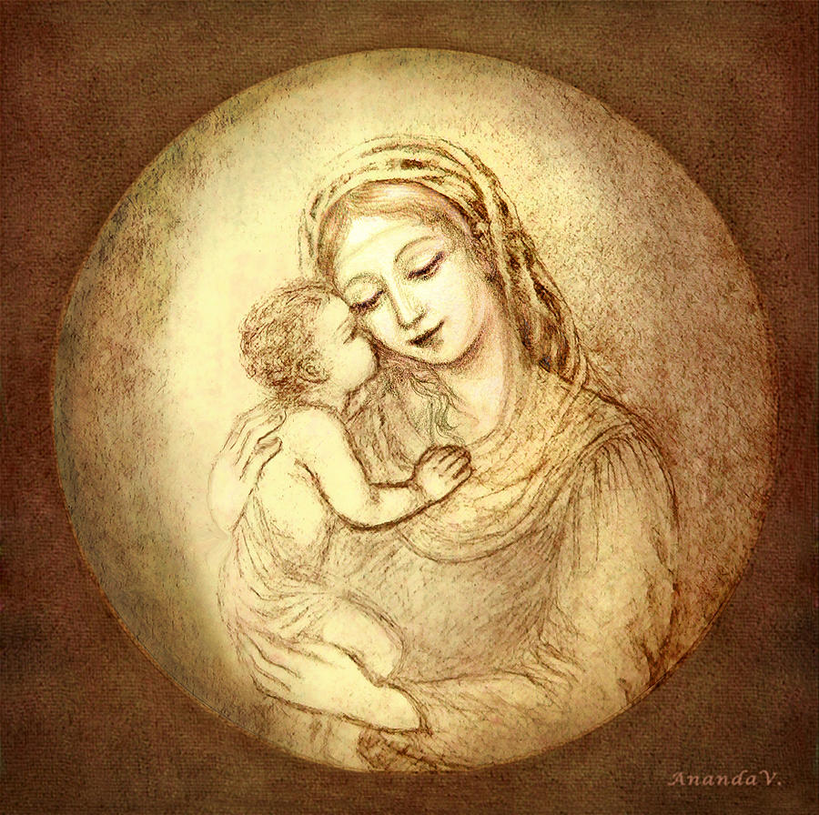 Madonna And Child Mixed Media - Mary And Jesus by Ananda Vdovic