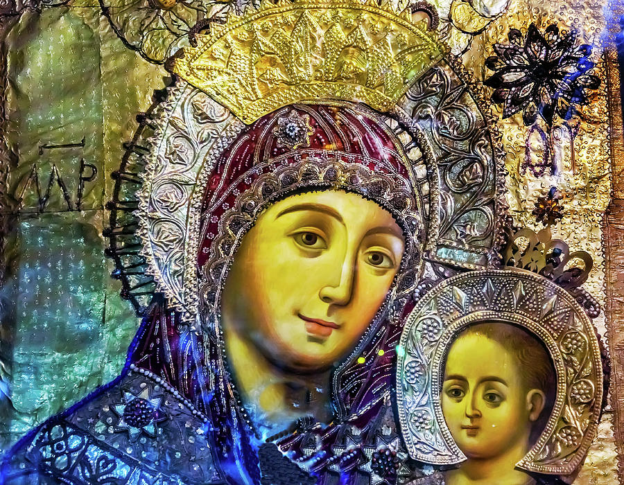 Architecture Photograph - Mary And Jesus Icon, Greek Orthodox by William Perry