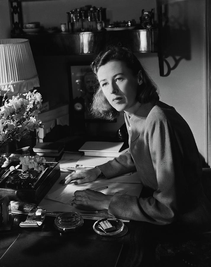 Mary Cushing At A Desk Photograph by Horst P. Horst