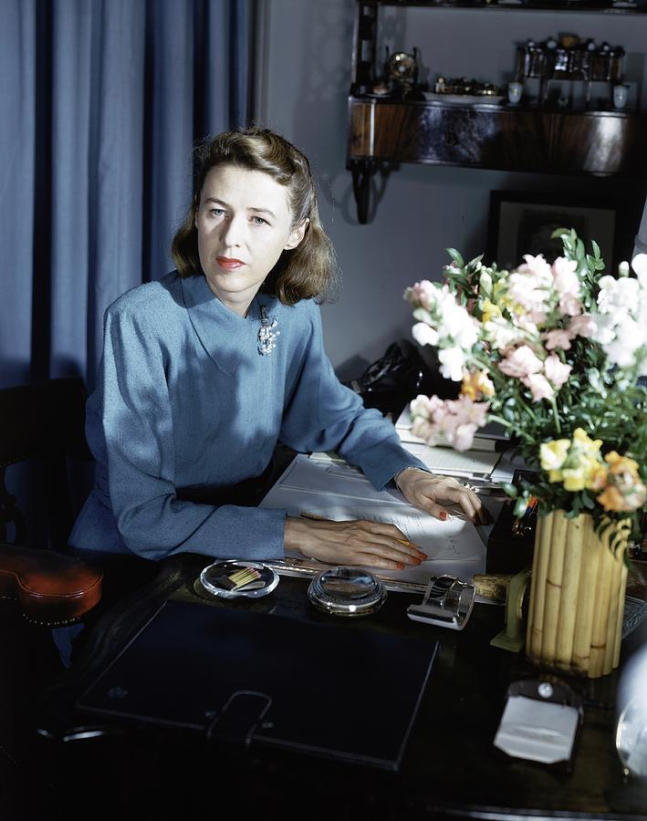 Mary Cushing At Her Desk Photograph by Horst P. Horst