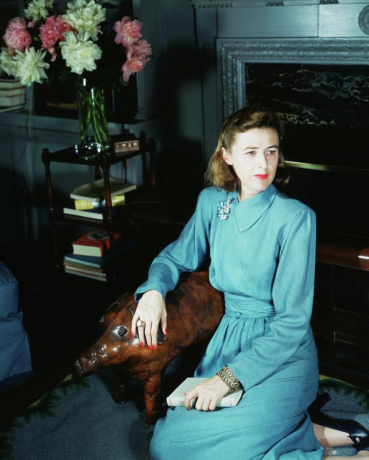 Mary Cushing Wearing A Blue Dress Photograph by Horst P. Horst