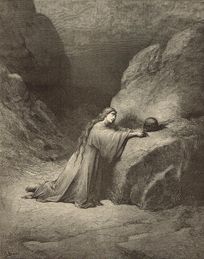 Biblical Drawing - Mary Magdalene by Antique Engravings