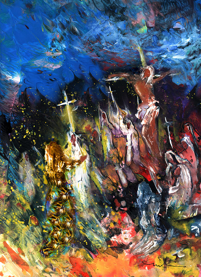 Mary Magdalene At The Cross Painting