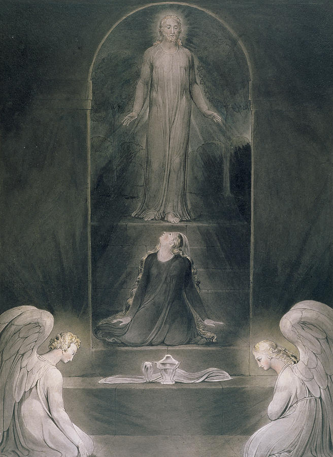 Angels Painting - Mary Magdalene At The Sepulchre by William Blake