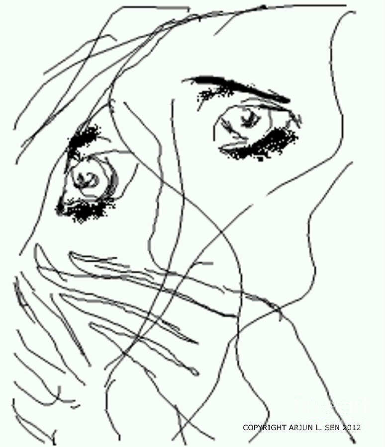 Finger Drawing - Mary Magdalene Loved By Jesus by Arjun L Sen