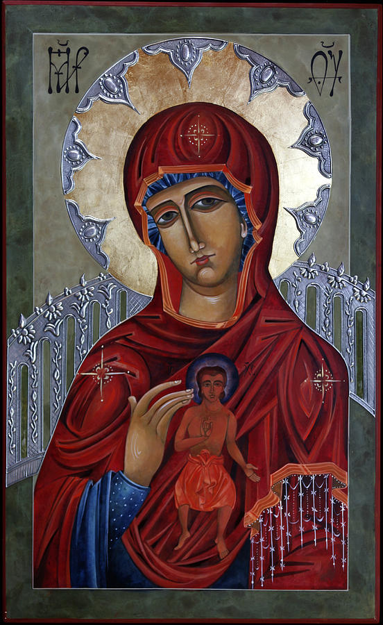 Religious Painting - Mary Of The Burning Bush by Mary jane Miller