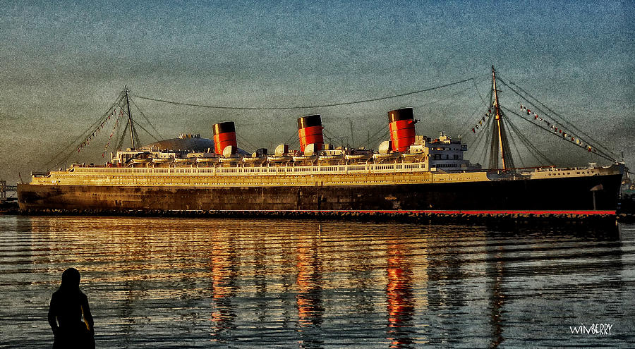 Long Beach Digital Art - Mary Watches The Queenmary by Bob Winberry