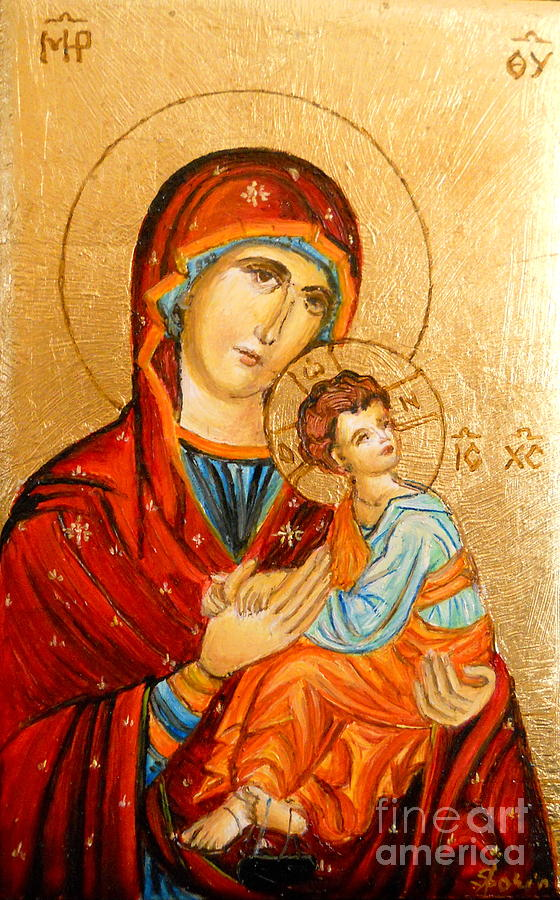 Icon Painting - Mary With Jessus R.2 by Sorin Apostolescu